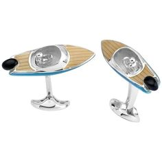 A brand new pair of sterling silver enamel speed boat cufflinks, crafted by Deakin & Francis. Weight - 27.3 grams. Come with box and booklet DESIGNER: Deakin & Francis MATERIAL: Sterling Silver GEMSTO