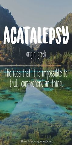 Acatalepsy (n.)--Origin: Greek Definition: The idea that it is impossible to truly comprehend anything.