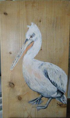 Pelikaan met acryl geschilderd op een houten paneel door Ineke Nolles.