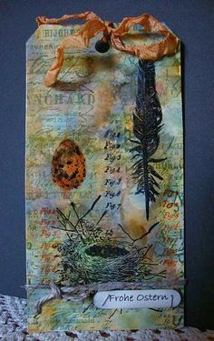 Alcohol Ink background for an Easter Tag