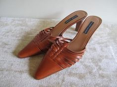 Ralph Lauren Leather Lined Leather Soles TAN Mules