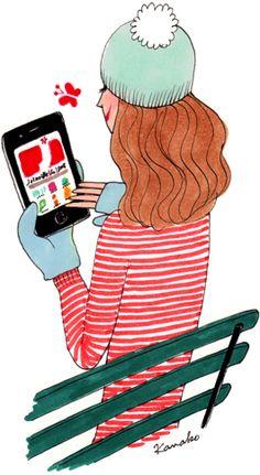Kanako, illustrator, agency Marie Bastille // this image belongs to its author and / or the agency Marie Bastille + info on the . Illustration Mignonne, Illustration Girl, Bastille, Social Media Art, My Little Paris, Girly, Reading Art, Jolie Photo, Portraits