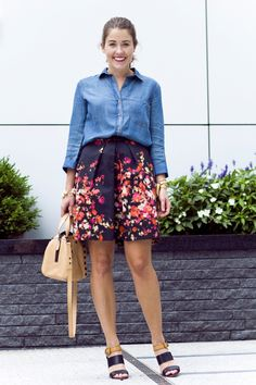 Outfit: Chambray + Florals - Sequins & Stripes