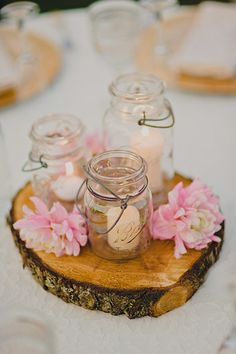Wood Rounds - Light Pink Flowers - Mason Jars - Tea Lights - Wedding Centerpiece - © Ryan Flynn Photography by nadine Succulent Wedding Centerpieces, Floating Candle Centerpieces, Jar Candles, Floral Centerpieces, Mini Mason Jars, Light Pink Flowers, Yellow Roses, Wedding Decorations, Table Decorations