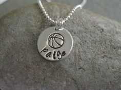 Basketball Necklace Personalized Sterling Silver by ESDesigns14, $20.00