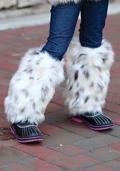 Kids Snow Leopard Faux Fur Leg Warmers