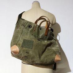 Vintage US Army duffle bag remake shoulder bag IND_BNP00076 W56cm H36cm D19cm