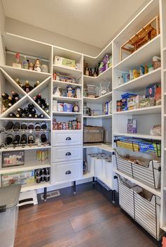 """""""Classic White"""" over-sized walk-in pantry with wine storage   California Closets Southdale"""