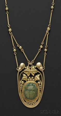 Arts  Crafts 14kt Gold and Faience Scarab Necklace, F.G. Hale, Skinner, Fine Jewelry Auction, Boston MA, Sept 13th