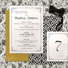 GATSBY - Invitații nuntă Art Deco Gatsby, Madina, Art Deco, Indie, Frame, Modern, Vintage, Decor, Atelier