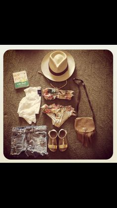 Zimmerman Bikini, Panama Hat, Cut off Denim, Zara Sandals.