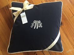 Navy sunbrella corded pillow. With or without by LydiaBurkedesigns