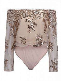 Shop Pink Off Shoulder Sequins Embroidery Sheer Flared Sleeve Bodysuit from choies.com .Free shipping Worldwide.$26.99