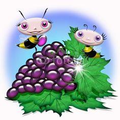 #Cute #Cartoon #Bees on #Grapefruit © #Bluedarkat - on #Fotolia!