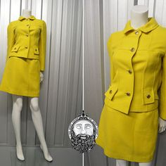 Vintage 60s LOUIS FERAUD Yellow Womens Suit Two Piece Skirt and Jacket Mod Dress Set High Waist 1960s Mini Skirt Jackie O Tailored Fit Wool