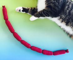 Who stole the kishka? Kitty stole the kishka! No cat can resist snatching up this giant sausage rope. • Machine stitched for durability! • Item