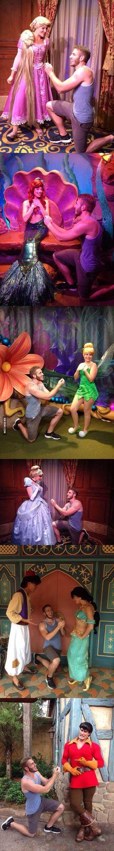 Guy proposes to various Disney characters at Disney World. Haha