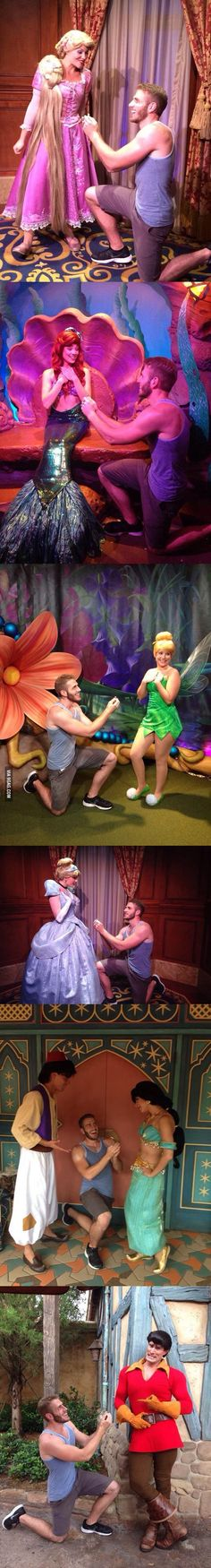 Guy proposes to various Disney characters at Disney World. Haha love the last one