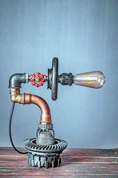 Items similar to Rustic home lighting Rustic lamps passover gift Steampunk lighting design Steampunk pipe art Industrial dining room lights Desk lamp on Etsy