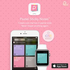 Pastel Sticky Notes - Create cute memos in pastel style and add to display on Today's Notification Widget. Download now.