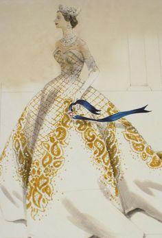 Design sketch by Norman Hartnell for Queen Elizabeth II's Coronation, 1953