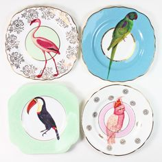 Cute and quirky 'Beautiful Birds' vintage mismatching tea plates with gorgeous colourful bird illustrations applied to each. These lovely...