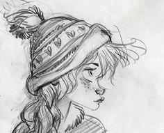 """Girl sketch, illustration, drawing / Ragazza, bozzetto, illustrazione, disegno - (Concept art for """"Frozen"""") by Glen Keane"""