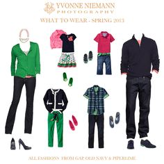 wardrobe for your family portraits! I love the color combination of green, navy and pink. So fresh