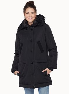 real good Noize at Twik   Utility expedition coat in rugged heather canvas, perfect for cold winter days   Removable hood with a detachable faux-fur ruff   Thin shiny lining   Full-length zip hidden under a buttoned placket   Multiple functional pockets    The model is wearing size small