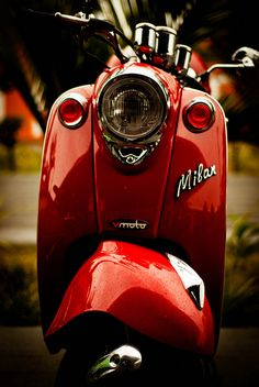 Love this red vespa Motor Scooters, Vespa Scooters, Luxury Sports Cars, Sport Cars, Sport Sport, Red Vespa, Car Colors, Foto Art, Red Aesthetic