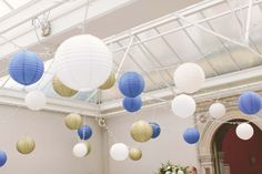 Hanging lanterns attached to an existing pealight canopy at Hampton Court House Hanging Lanterns, Paper Lanterns, Hampton Court House, Colored Paper, Fashion Company, Corporate Events, Event Design, Canopy, Wedding Events