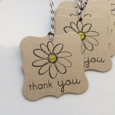 Thank You Tags Glitter Daisy Set of 6 by FreshLemonBlossoms, $4.50