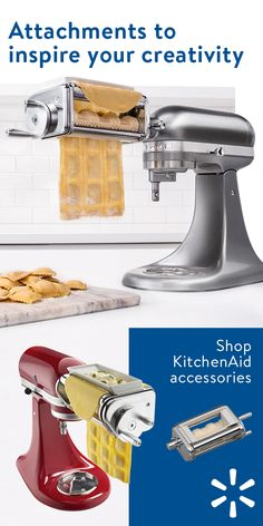 Do more than ever before with all-new attachments from KitchenAid. Grind meat, spiralize noodles, puree tomatoes—even whip up homemade ice cream. With our range of KitchenAid attachments you can turn your stand mixer into the culinary center of your kitchen. Shop KitchenAid attachments and mixers today at Walmart.com.