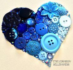 6x6 button Art Ombré Sparkly Heart Art Button & by BellePapiers, $84.00