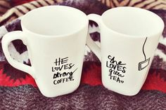 DIY Sharpie Coffee Mugs: Draw a design on your white mug and bake at 350 degrees for 30 minutes. Voila!