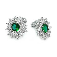 Green Cubic Zirconia Snowflake Rhodium Plated Stud Earrings * Be sure to check out this awesome product affiliate link Amazon.com Christmas Earrings, Snowflakes, Sapphire, Stud Earrings, Engagement Rings, Amazon, Awesome, Link, Womens Fashion