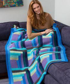 Mod Log Cabin Throw Free Crochet Pattern from Red Heart Yarn