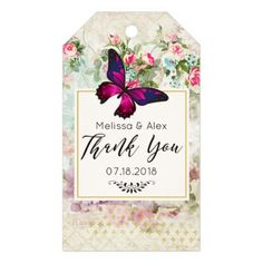 Pink Butterfly and Shabby Vintage Roses Wedding Gift Tags - elegant gifts gift ideas custom presents