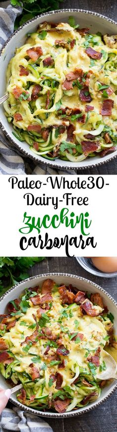 This paleo zucchini carbonara has a savory creamy sauce that you won't believe is dairy free!  Tossed with crisp bacon and low carb zucchini pasta, it's a healthy meal you'll want to make over and over again.  Paleo, Whole30 compliant, low carb, dairy free.