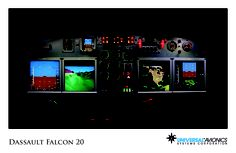 "Universal Avionics: Dassault Falcon 20 - (1) Display Suite: 4 EFI-890R 8.9"" Flat Panel Displays; (2) Situational Awareness: 1 Vision-1 Synthetic Vision System, 1 Terrain Awareness and Warning System (TAWS), 2 Universal Cockpit Display (UCD) terminals for Jeppesen charts, checklists, weather and E-DOCS; (3) Flight Management: 2 UNS-1F FMSs with 5"" CDUs; (4) Radio Tuning and Communications: 2 Radio Control Units (RCU), 1 UniLink UL-701 Communications Management Unit (CMU)"