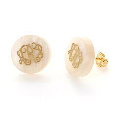 Acrylic Disk Monogram Pierced Earrings