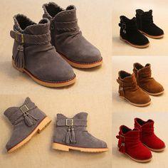 Korean Girls Children Tassel Soft Zipper Warm Shoes Kids Retro Martin Boots