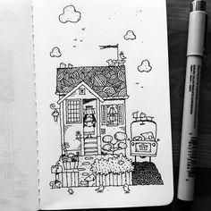 The House on Hemlock #illustration #drawing #penandink #micron #moleskine #moleskineart #dailydrawing #sketchbook #cottage #frontyard #car #simpletimes #dogs #art #squirrels #artistontumblr #artistsoninstagram #smile #davegarbot #pacificnw...