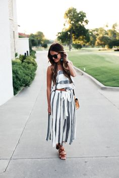 matching stripe set + lace-up sandals