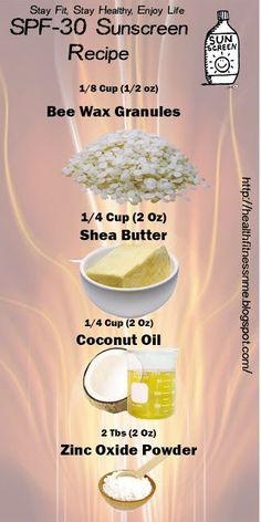 Homemade SPF 30 Sunscreen Recipe (Health,Fitness and Me) Homemade Sunscreen, Natural Sunscreen, Homemade Skin Care, Homemade Beauty Products, Diy Skin Care, Natural Health Products, Anti Aging Skin Care, Natural Skin Care, Natural Baby