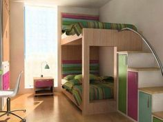 Wood Vintage Bunk Beds Furniture in Teenagers Girls Small Bedroom Decorating Design Ideas