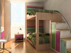Wood Vintage Bunk Beds Furniture in Teenage Girls Small Bedroom