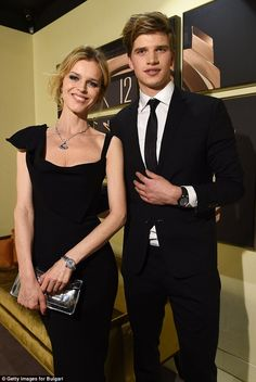 When worlds collide:Eva Herzigová and Toby Huntington-Whiteley attended the Bulgari Unlock The Future event at Baselworld in Switzerland on Thursday evening