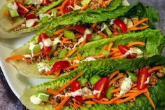 These crunchy buffalo turkey lettuce wraps are a great way to get in veggies and still get that delicious buffalo flavor that we all love. Shredded Carrot, Shredded Chicken, Types Of Lettuce, Turkey Lettuce Wraps, Stone Soup, Dinner Salads, Wrap Recipes, Smoked Paprika, Ranch Dressing