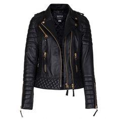 Kay Michaels Oil Black Quilted Biker Jacket Gold Hardware - Boda Skins ($650) ❤ liked on Polyvore